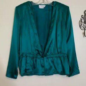 Vintage Silk Peplum Blouse Sz XL